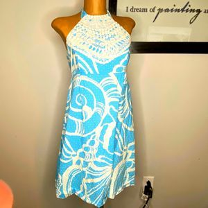 Lilly Pulitzer 6 Halter embroidered dress